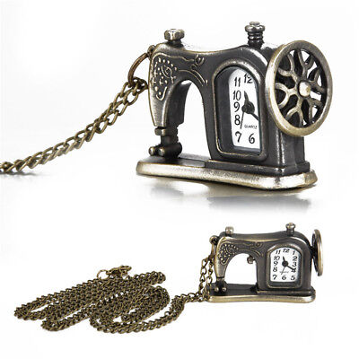 Antique Bronze Alloy Sewing Machine Design Pendant Pocket Watch Necklace Jewelry