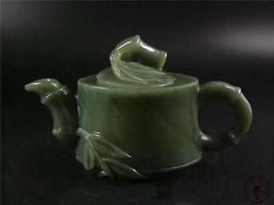 Old Chinese Celadon Nephrite Jade Teapot W/ COVER TRADITIONAL STYLE TOP QUALITY