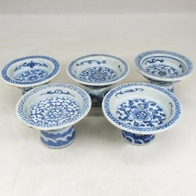 D931: REAL Chinese old porcelain plate five pates with leg in Qing Dynasty age