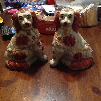 Vintage Large Size Pair Staffordshire Dog / Hand Painted / Beautiful!!!!!!!!!