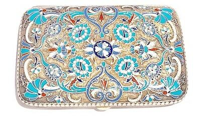 Antique Russian Gold-Washed Silver & Cloisonné Cigarette Case, Vasily Agafonov