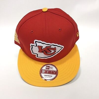 New Era Kansas City Chiefs 9Fifty Baycik Patch Snapback Snap Back Hat Red  Yellow 82f6e133b