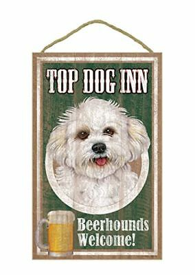 "Top Dog Inn Beerhounds Bichon Bar Sign Plaque dog pet 10"" x 16"" Beer"