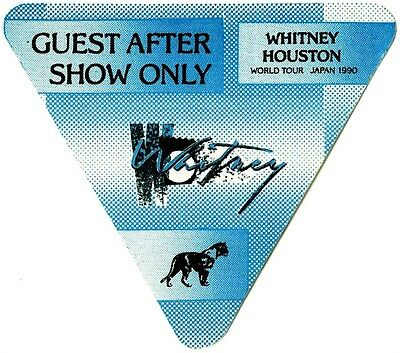 Whitney Houston authentic 1990 Japan tour satin backstage pass after show blue