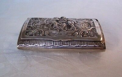German 800 Silver Snuff Box with People & Flowers in Relief