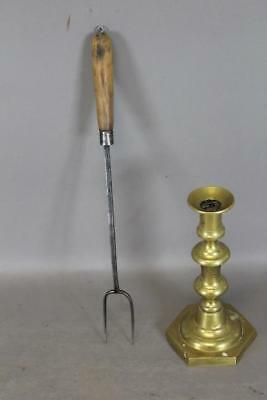 A Great Early 18Th C Wrought Iron Two Tine Roasting Fork Original Wooden Handle