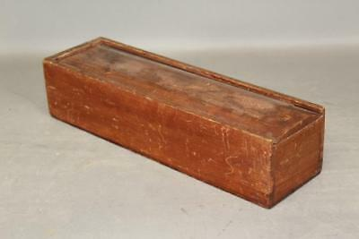 A Great Paint Decorated 19Th C Ct Sliding Lid Candle Box Original Red Paint