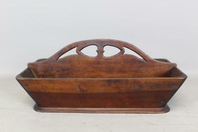 The Best Double Heart Carved 19Th C Pennsylvania Cherry Knife Box In Old Surface