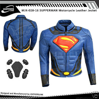Superman Men Replica Motorcycle Motorbike Leather Jacket MJK-525(US 44,46,48)