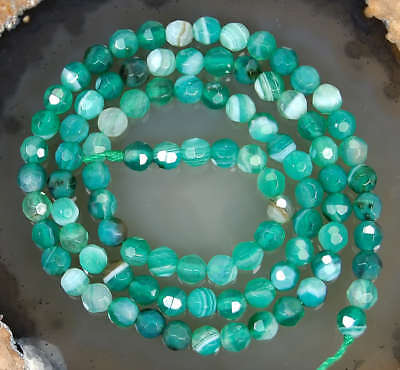 4mm Faceted Green Striated Agate Round Beads 15""