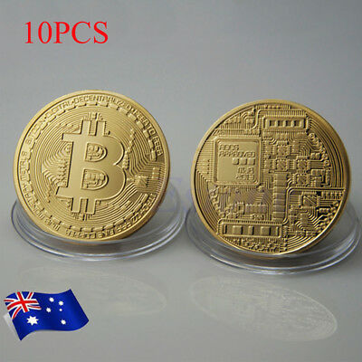 AU 10PCS Gold Plated Bitcoin Coin Collectible BTC Coin Art Collection Physical