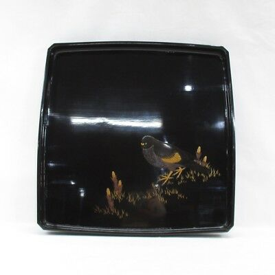 D934: Real old Japanese lacquer ware square tray with good sparrow MAKIE