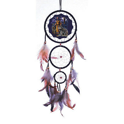 """20"""" Long Indian Maiden Wolf Wolves Dream Catcher Wall Hang Decor Feathers Gift"""