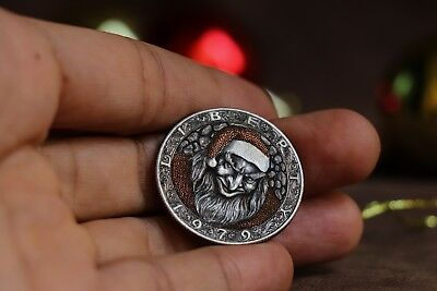 Hobo Nickel,1979 Half Dollar Kennedy coin Hand Engraved by Panja Pojiew.