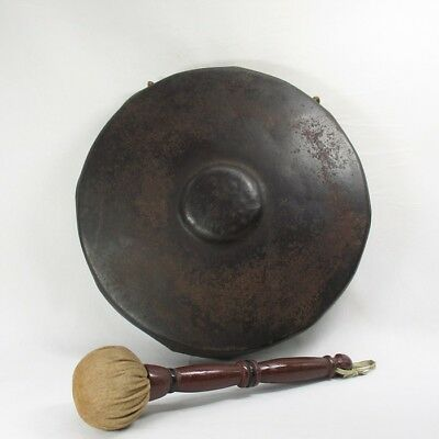 D912: Japanese old iron gong DORA for Buddhism temple or the tea ceremony room
