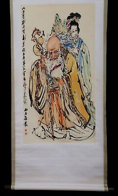 Awesome Exquisite Chinese Old Rare Scroll Handwork Figures Painting Marked KK298