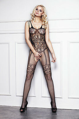 Sexy Netz Catsuit Straps Optik Bodystocking ouvert Netzbody Träger Body Stocking