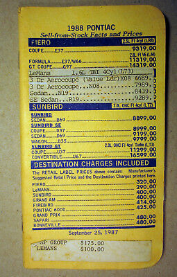 1988 Pontiac Salesmen's Price Book Brochure Fiero Sunbird Grand Am Firebird Prix