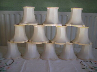 Vintage Set of 12 Ivory Fabric Clip on Lampshades Lined and Trimmed with Braid