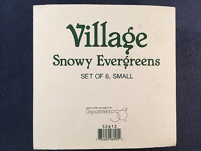 Village Snowy Evergreens - Set of Six - New In Box     Free Shipping #52612