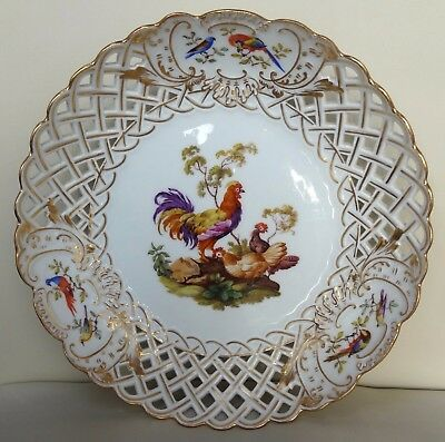 Superb Large 19th Century Meissen Reticulated Dish With Chickens