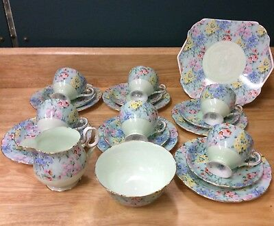 VTG 1930's ART-DECO SHELLEY MELODY TEA SET WITH SANDWICH PLATE-cup saucer chintz