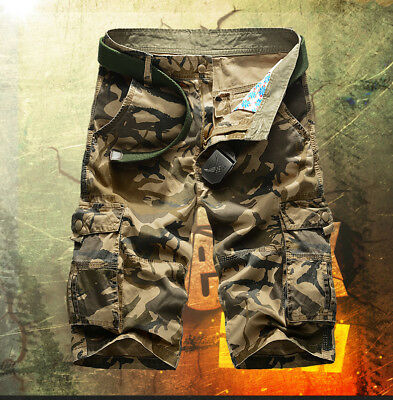 Men Cargo Shorts Work Army Cotton Pants Mens Drill Casual Pockets  Camo Work S L