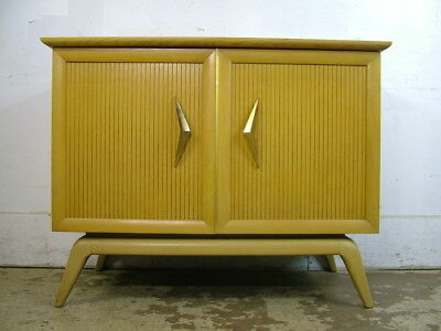 Excellent Mid Century Modern Floating Blond Mahogany Record Cabinet Cedar Lined