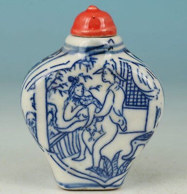 Chinese Old Porcelain Handmade Painting Collect Statue Snuff Bottle