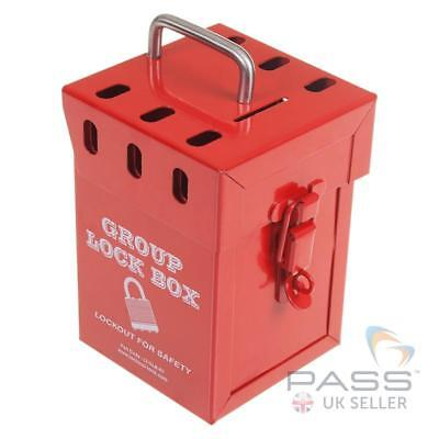 Heavy Duty Group LockOut Box - Red. Fits up to 7 Keys