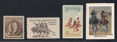 Frederic Remington - Western Sculptor / Artist - 4 U.s. Stamps - Mint Condition