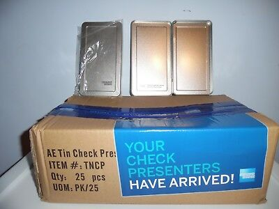 American Express Silver Metal Tip Tray Check Presenters. Brand New Box Of 25 Pcs