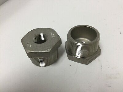 """Lot of 2 Stainless Steel Reducing Adapters, Connections: 1-1/2"""" NPT to 1/2"""" NPT"""