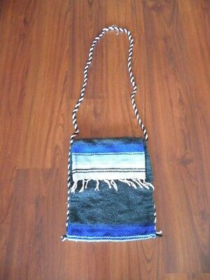 """Mexican Falsa 13"""" x 15"""" Hand Bag Pouch Hand Made Embroidered Saltillo Serape"""