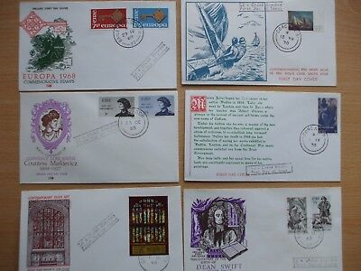 6 X 1960s/70s ALL DIFFERENT IRISH FIRST DAY COVERS