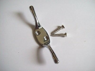 Zinc plated clothes line cleat hook with screws. 110mm