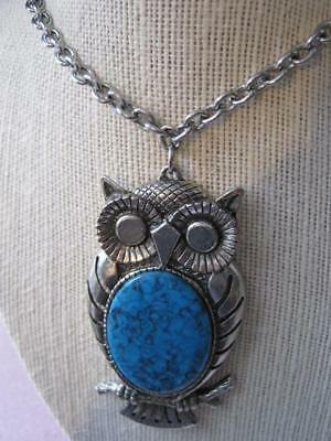 HUGE OWL Spiderweb Faux Turquoise Belly Sil Tn PENDANT Heavy Chain Unique Cool!