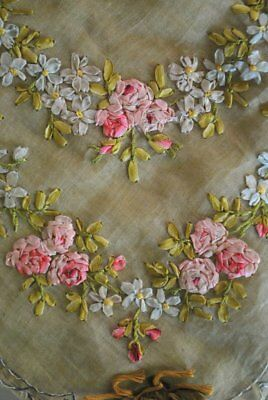 Antique Charming Ribbon Work Lingerie Or Hankie Holder Rose Swags Tinted Ribbon