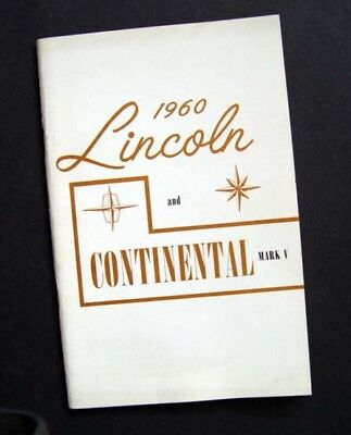 Vintage Original Fresh Clean Near Mint 1960 Lincoln Continental Owners Manual