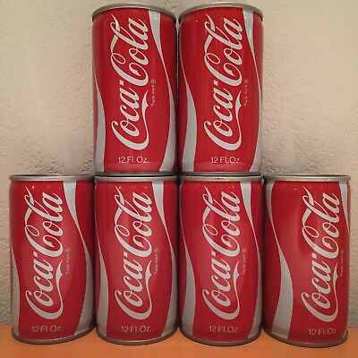 Lot of 6 Vintage Coke Soda Cans, Steel, Pull-Tab Tops