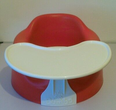 Red Bumbo Seat with tray baby sit up floor chair
