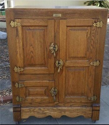 """Wow! Rare Antique """" Household """" Solid Oak Ice Box / Refrigerator / Cabinet"""