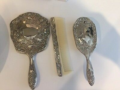 Vintage 3 Piece Silver Plated Dresser Vanity Set , Mirror/Comb/Brush Art Deco