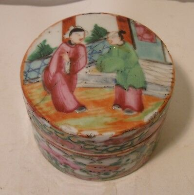 Antique Chinese Cantonese Famille Rose Pill Box