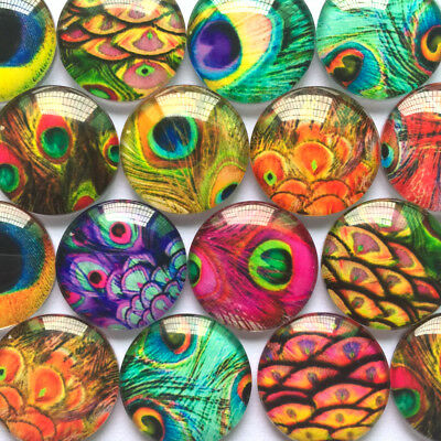 Handmade Glass Cabochons | Colourful Peacock Designs | Choice of sizes