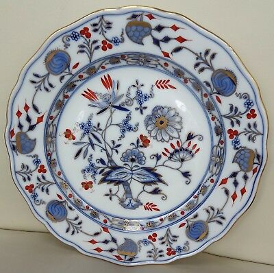 Excellent Meissen Rich Blue Onion Plate with Gilding #2