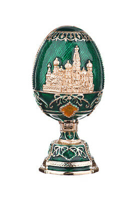 Russian Decorative Faberge Egg Moscow Saint-Basil's Cathedral 2.8'' (7cm) green