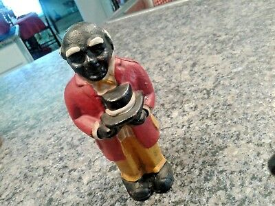 Antique Black Americana Cast Iron Uncle Moses Coin Bank - Red Coat/yellow Pants