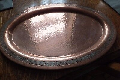 """E & Jb. Antique Large Oval, Arts And Crafts Hammered Copper Tray. 15.5"""" X 10.5"""""""