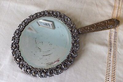 "Shabby Victorian Antique  Rococo Bevelled Edge Hand Mirror French  11"" Long"